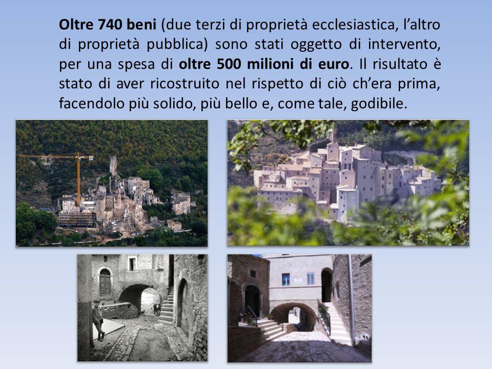 Oltre 740 beni (due terzi di proprietà ecclesiastica, laltro di proprietà pubblica) sono stati oggetto di intervento, per una spesa di oltre 500 milioni di euro.