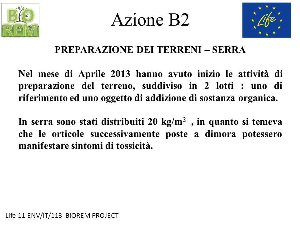 Life 11 ENV/IT/113 BIOREM PROJECT Azione B2 PREPARAZIONE DEI TERRENI – SERRA Nel mese di Aprile 2013 hanno avuto inizio le attività di preparazione de
