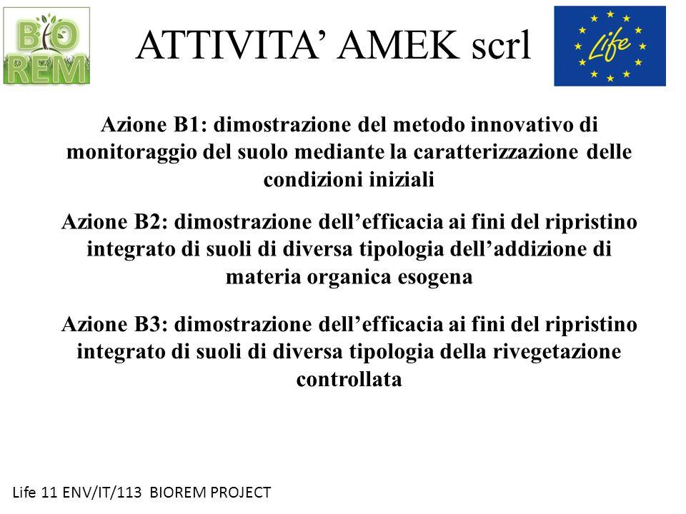 Life 11 ENV/IT/113 BIOREM PROJECT ATTIVITA AMEK scrl Azione B1: dimostrazione del metodo innovativo di monitoraggio del suolo mediante la caratterizza