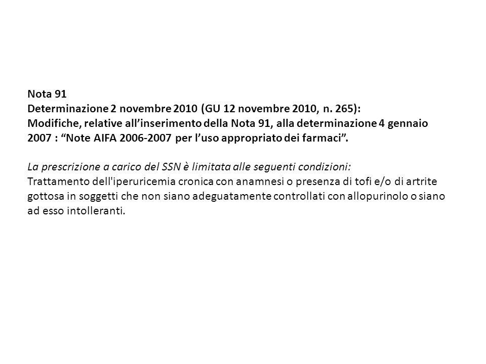 Nota 91 Determinazione 2 novembre 2010 (GU 12 novembre 2010, n. 265): Modifiche, relative allinserimento della Nota 91, alla determinazione 4 gennaio