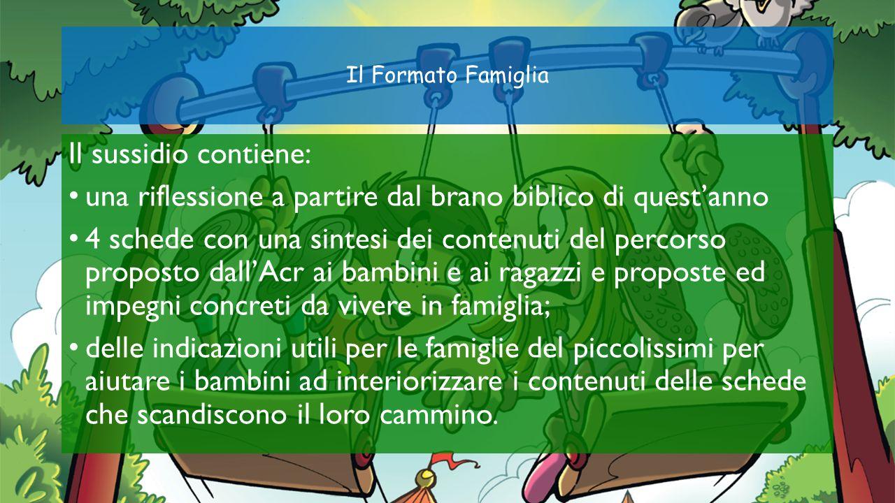 Il Formato Famiglia Il sussidio contiene: una riflessione a partire dal brano biblico di questanno 4 schede con una sintesi dei contenuti del percorso