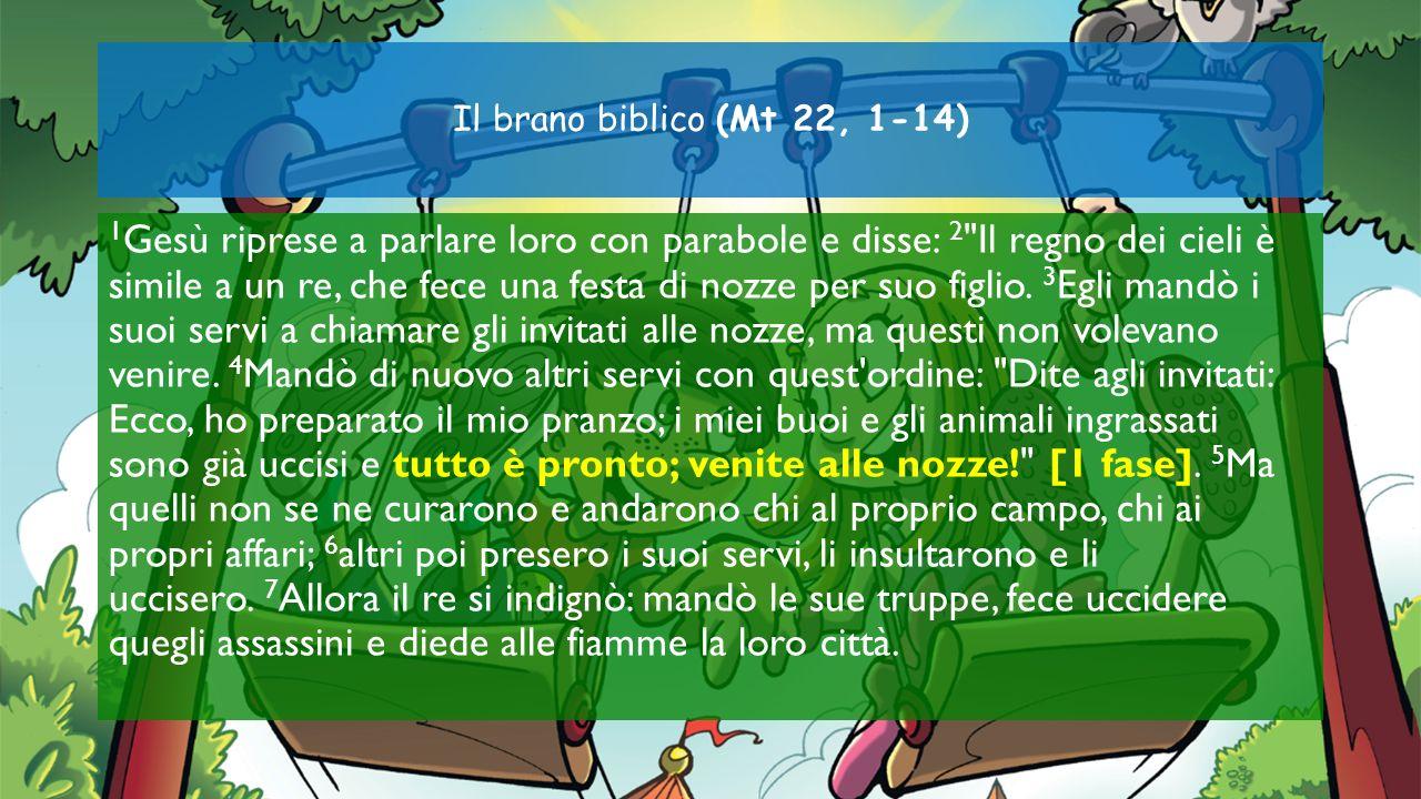 Il brano biblico (Mt 22, 1-14) 1 Gesù riprese a parlare loro con parabole e disse: 2