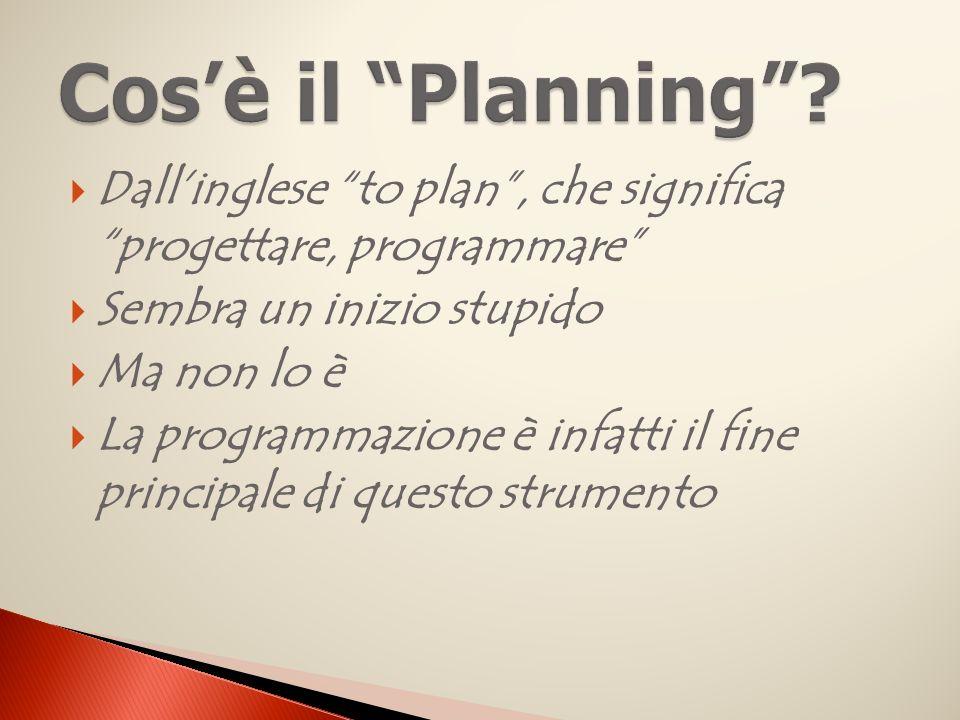 Dallinglese to plan, che significa progettare, programmare Sembra un inizio stupido Ma non lo è La programmazione è infatti il fine principale di questo strumento