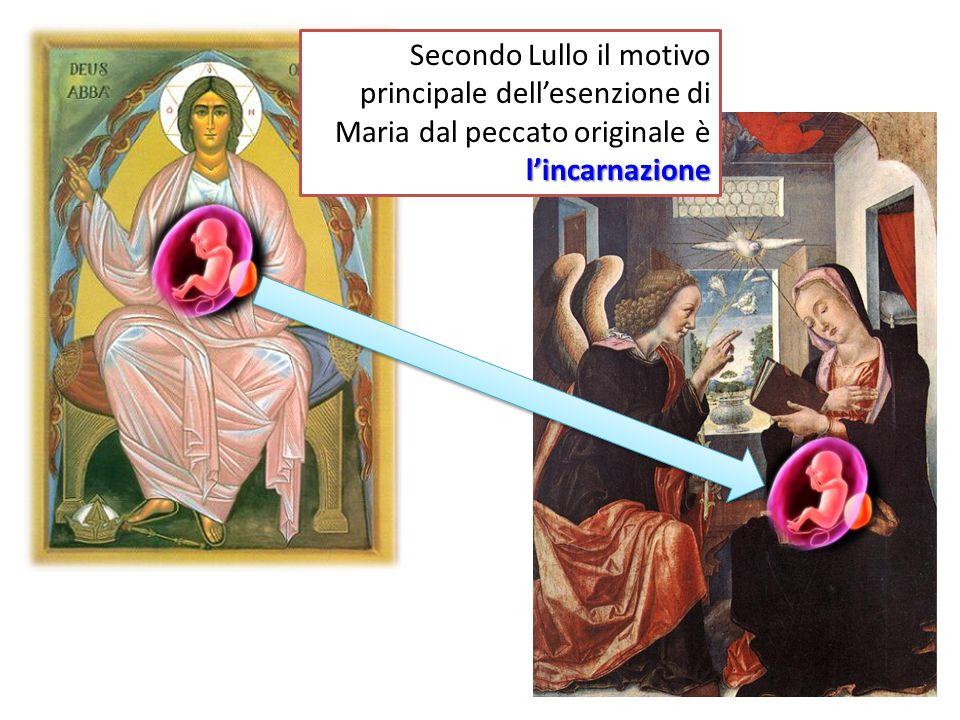 lincarnazione Secondo Lullo il motivo principale dellesenzione di Maria dal peccato originale è lincarnazione