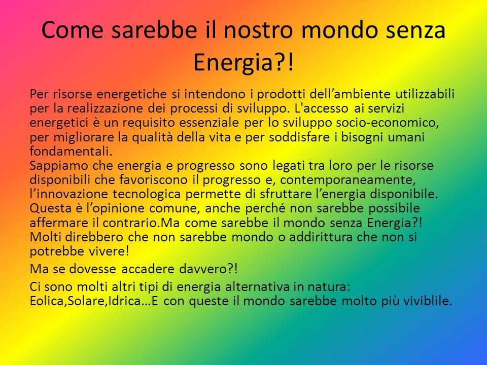 Come sarebbe il nostro mondo senza Energia?! Per risorse energetiche si intendono i prodotti dellambiente utilizzabili per la realizzazione dei proces
