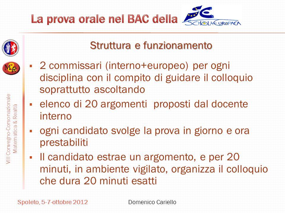 VIII Convegno-Corso nazionale Matematica & Realtà Spoleto, 5-7-ottobre 2012 Domenico Cariello Struttura e funzionamento 2 commissari (interno+europeo)