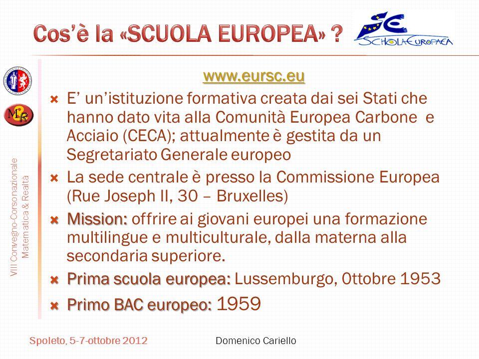 VIII Convegno-Corso nazionale Matematica & Realtà Spoleto, 5-7-ottobre 2012 Domenico Cariello www.eursc.eu E unistituzione formativa creata dai sei St