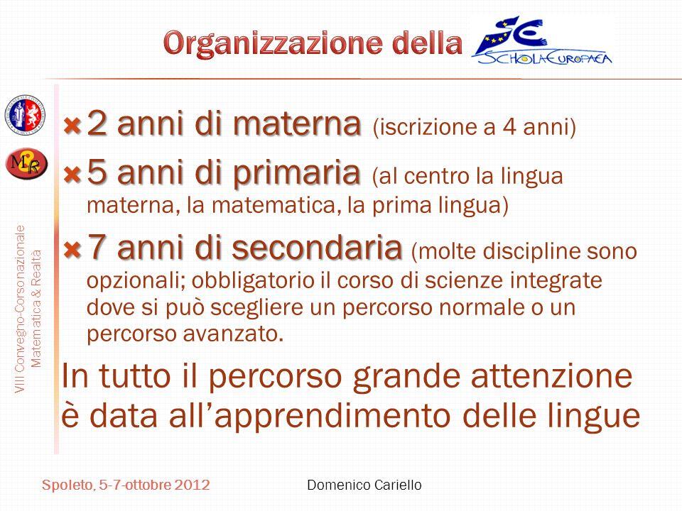 VIII Convegno-Corso nazionale Matematica & Realtà Spoleto, 5-7-ottobre 2012 Domenico Cariello 2 anni di materna 2 anni di materna (iscrizione a 4 anni