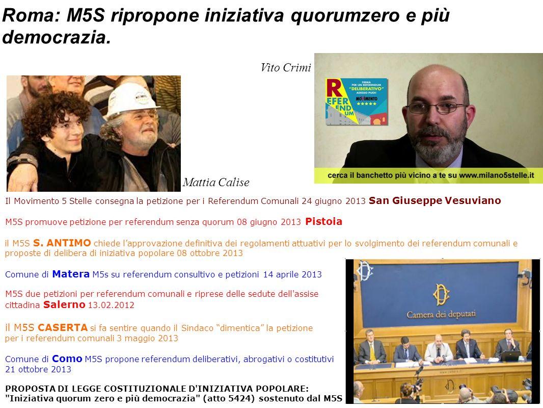 Roma: M5S ripropone iniziativa quorumzero e più democrazia.