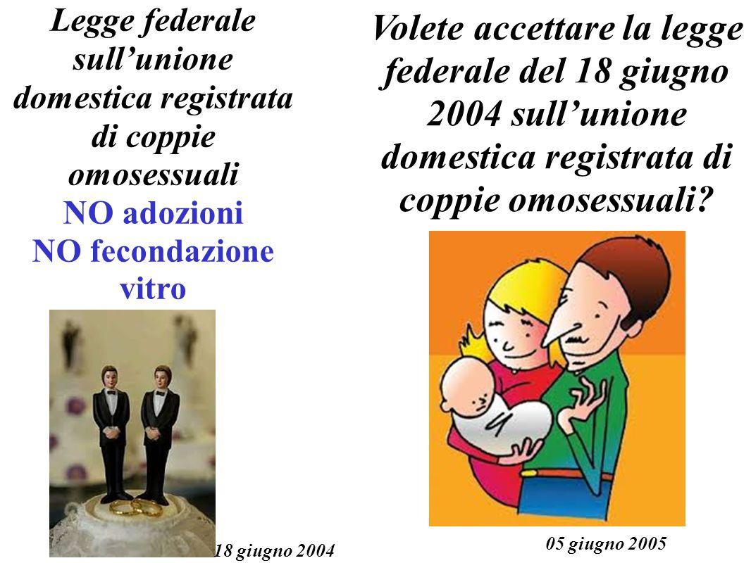 Legge federale sullunione domestica registrata di coppie omosessuali NO adozioni NO fecondazione vitro 18 giugno 2004 Volete accettare la legge federale del 18 giugno 2004 sullunione domestica registrata di coppie omosessuali.