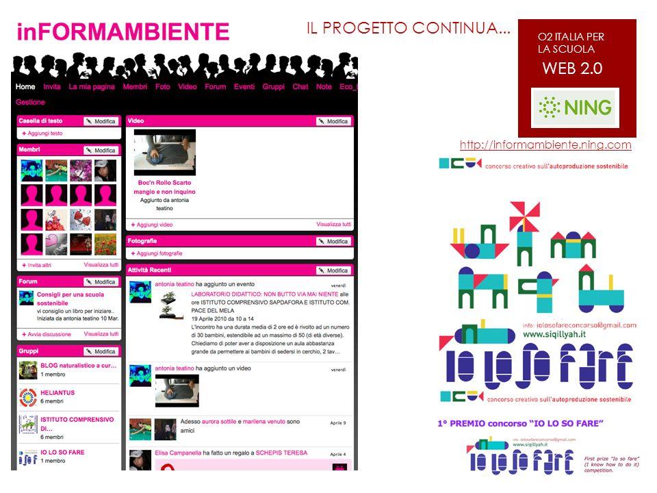 http://informambiente.ning.com IL PROGETTO CONTINUA... WEB 2.0 O2 ITALIA PER LA SCUOLA