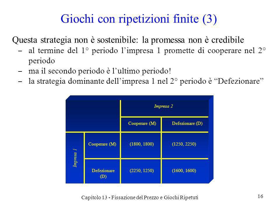 Giochi con ripetizioni finite (3) Questa strategia non è sostenibile: la promessa non è credibile al termine del 1° periodo limpresa 1 promette di coo