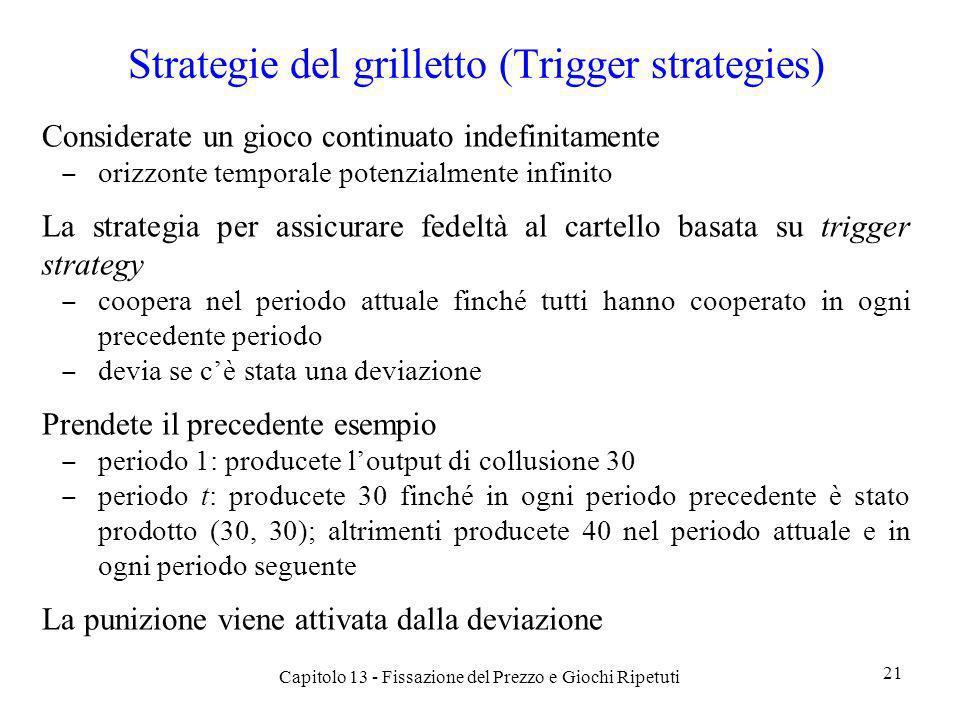 Strategie del grilletto (Trigger strategies) Considerate un gioco continuato indefinitamente orizzonte temporale potenzialmente infinito La strategia