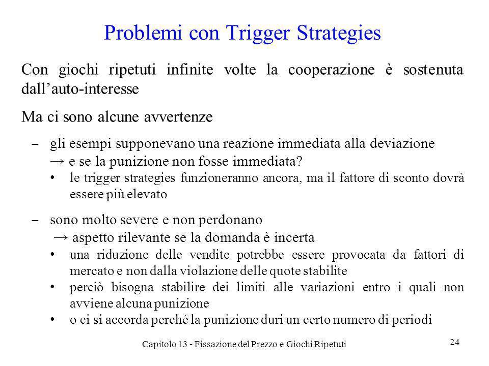 Problemi con Trigger Strategies Con giochi ripetuti infinite volte la cooperazione è sostenuta dallauto-interesse Ma ci sono alcune avvertenze gli ese