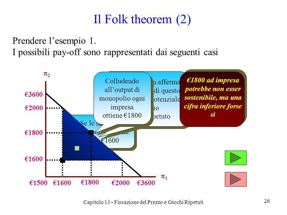 Il Folk theorem (2) Prendere lesempio 1. I possibili pay-off sono rappresentati dai seguenti casi Capitolo 13 - Fissazione del Prezzo e Giochi Ripetut