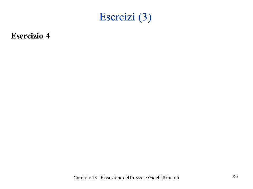 Esercizi (3) Esercizio 4 Capitolo 13 - Fissazione del Prezzo e Giochi Ripetuti 30