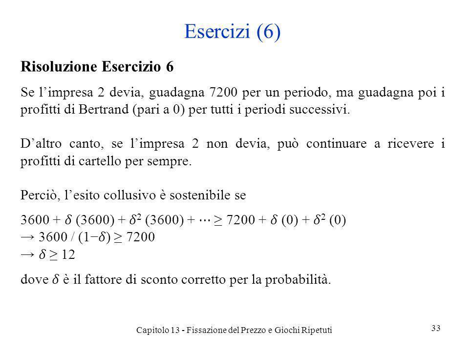 Esercizi (6) Risoluzione Esercizio 6 Se limpresa 2 devia, guadagna 7200 per un periodo, ma guadagna poi i profitti di Bertrand (pari a 0) per tutti i