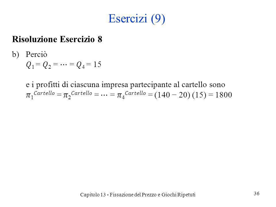 Esercizi (9) Risoluzione Esercizio 8 b)Perciò 1 = 2 = = 4 = 15 e i profitti di ciascuna impresa partecipante al cartello sono 1 = 2 = = 4 = (140 20) (