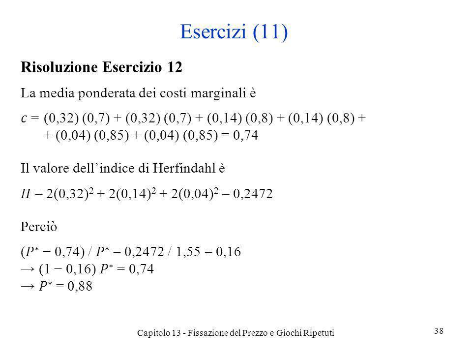 Esercizi (11) Risoluzione Esercizio 12 La media ponderata dei costi marginali è =(0,32) (0,7) + (0,32) (0,7) + (0,14) (0,8) + (0,14) (0,8) + + (0,04)