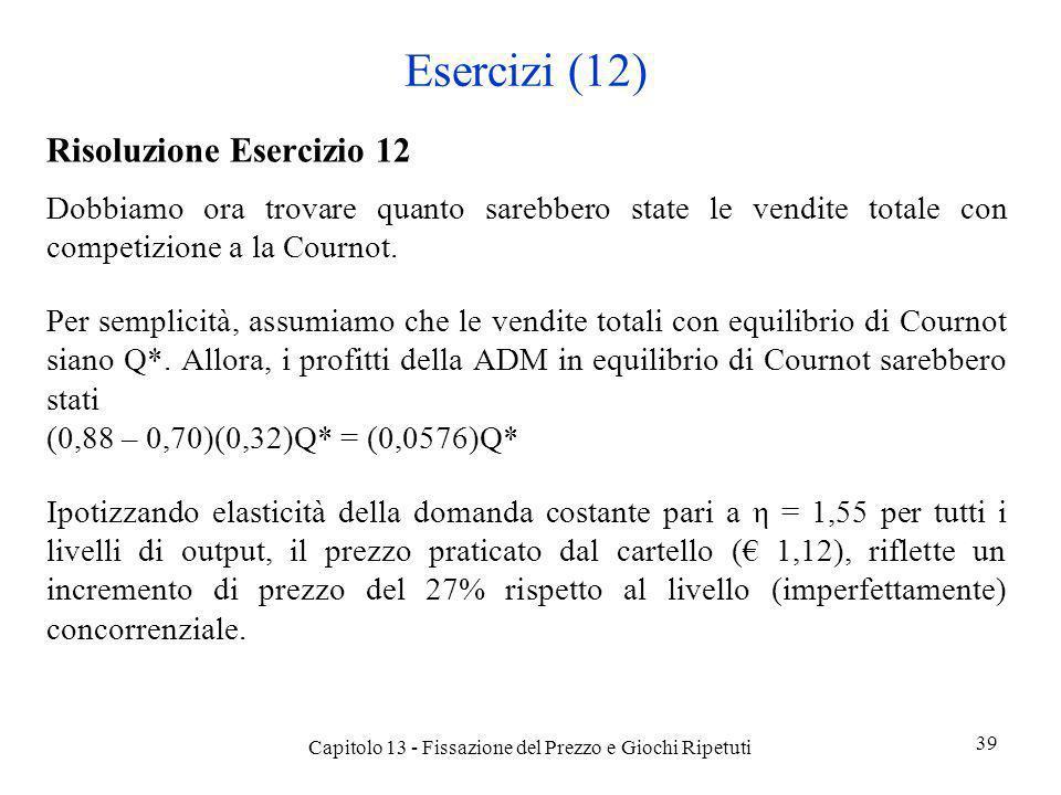Esercizi (12) Risoluzione Esercizio 12 Dobbiamo ora trovare quanto sarebbero state le vendite totale con competizione a la Cournot. Per semplicità, as