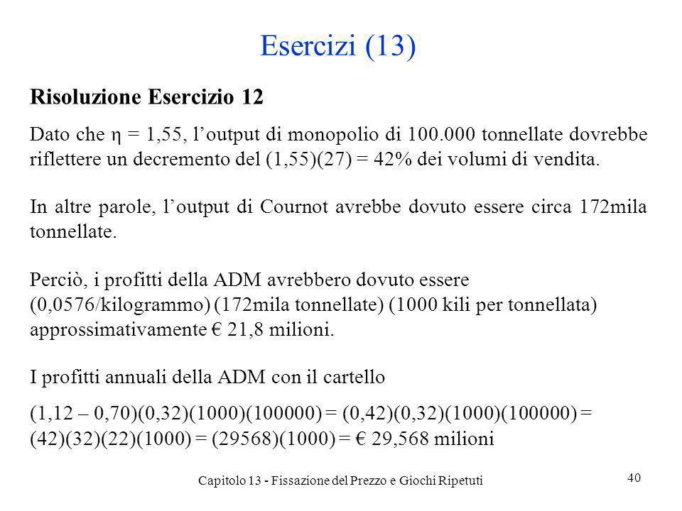 Esercizi (13) Risoluzione Esercizio 12 Dato che η = 1,55, loutput di monopolio di 100.000 tonnellate dovrebbe riflettere un decremento del (1,55)(27)