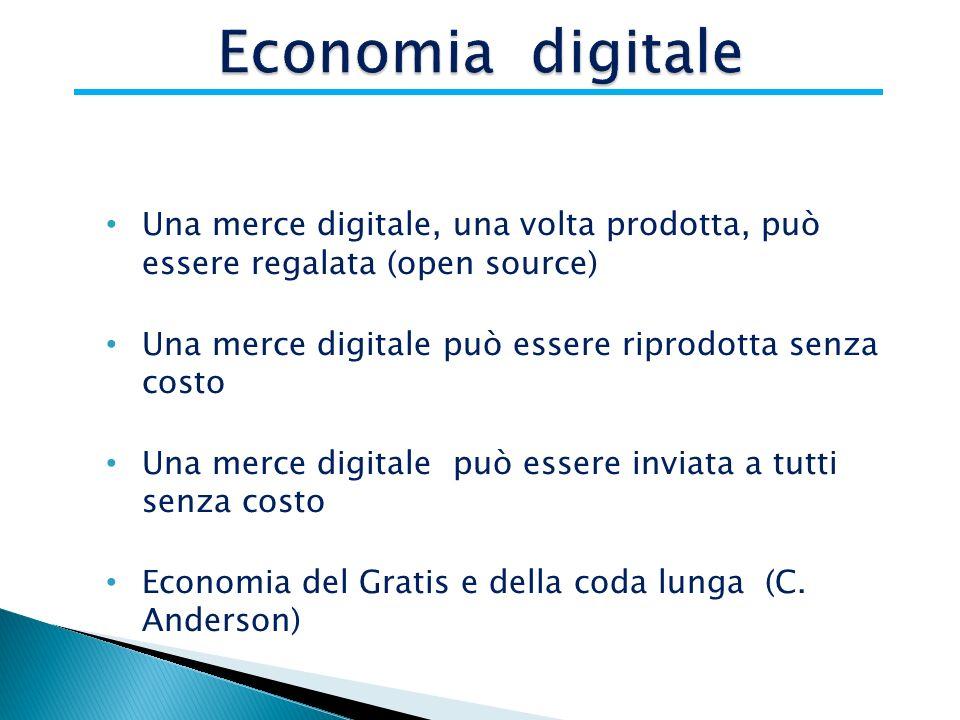 Una merce digitale, una volta prodotta, può essere regalata (open source) Una merce digitale può essere riprodotta senza costo Una merce digitale può essere inviata a tutti senza costo Economia del Gratis e della coda lunga (C.