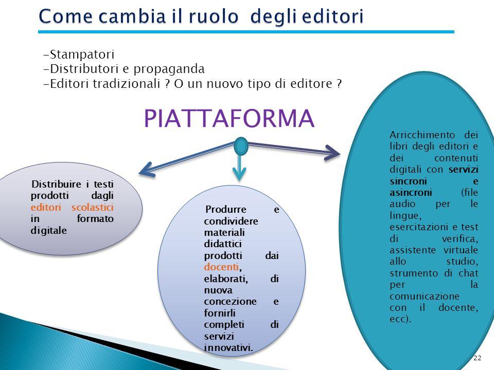 22 -Stampatori -Distributori e propaganda -Editori tradizionali .