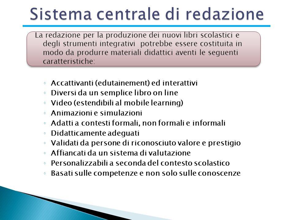 Accattivanti (edutainement) ed interattivi Diversi da un semplice libro on line Video (estendibili al mobile learning) Animazioni e simulazioni Adatti