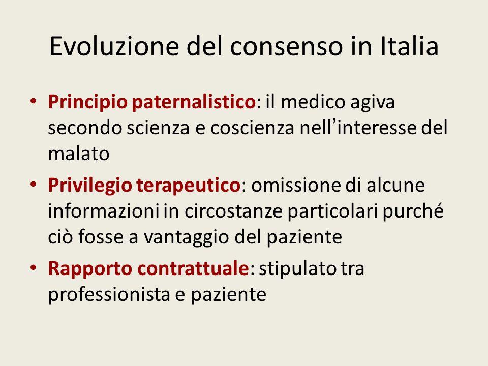 Evoluzione del consenso in Italia Principio paternalistico: il medico agiva secondo scienza e coscienza nell interesse del malato Privilegio terapeuti