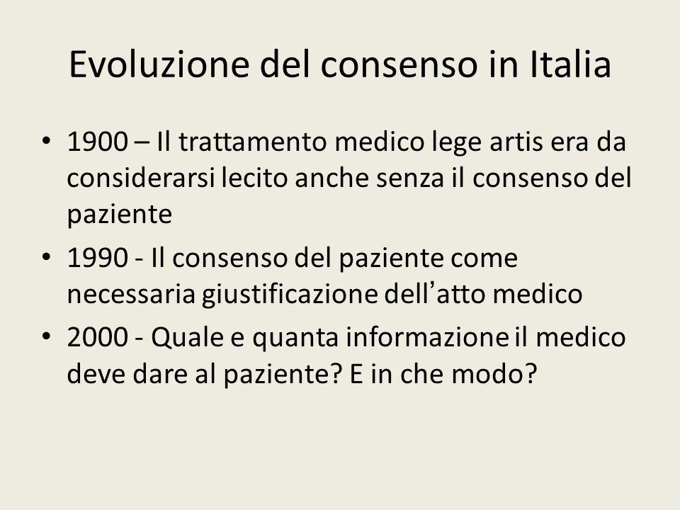 Evoluzione del consenso in Italia 1900 – Il trattamento medico lege artis era da considerarsi lecito anche senza il consenso del paziente 1990 - Il co