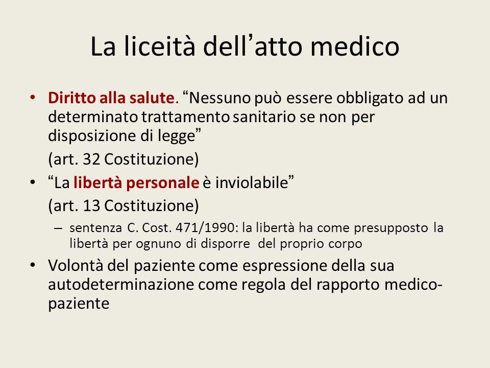 La liceità dell atto medico Diritto alla salute. Nessuno può essere obbligato ad un determinato trattamento sanitario se non per disposizione di legge