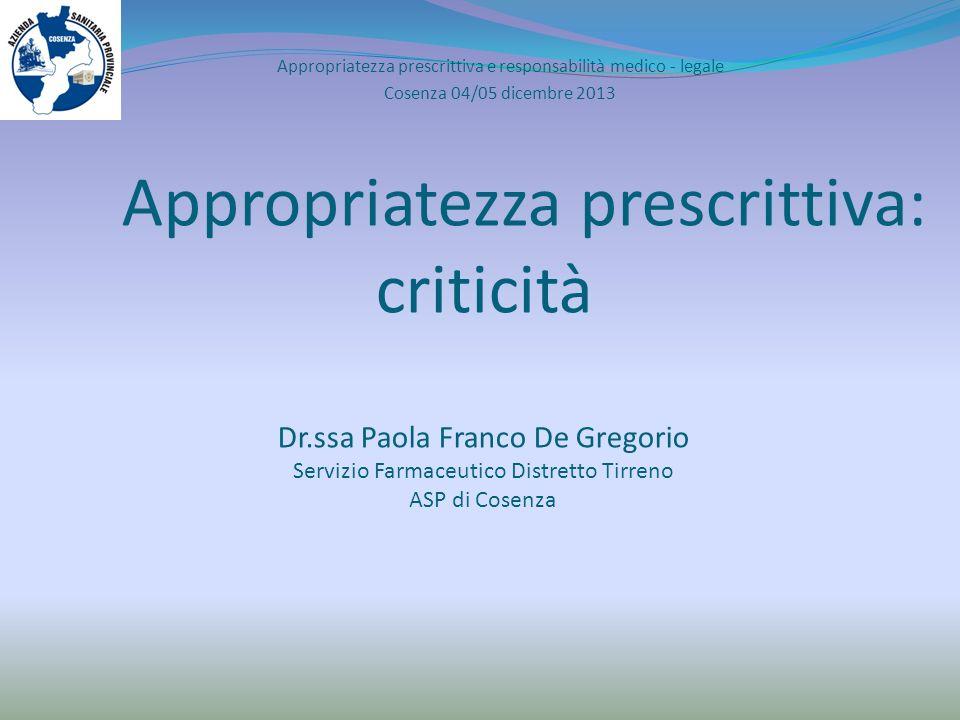 Appropriatezza prescrittiva: criticità Dr.ssa Paola Franco De Gregorio Servizio Farmaceutico Distretto Tirreno ASP di Cosenza Appropriatezza prescritt