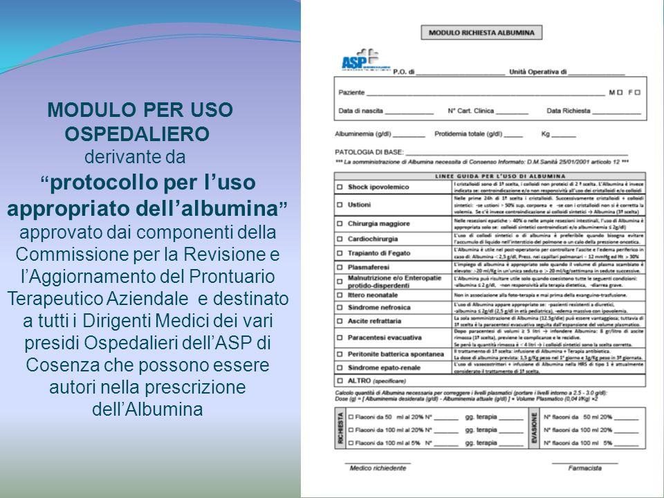 MODULO PER USO OSPEDALIERO derivante da protocollo per luso appropriato dellalbumina approvato dai componenti della Commissione per la Revisione e lAg