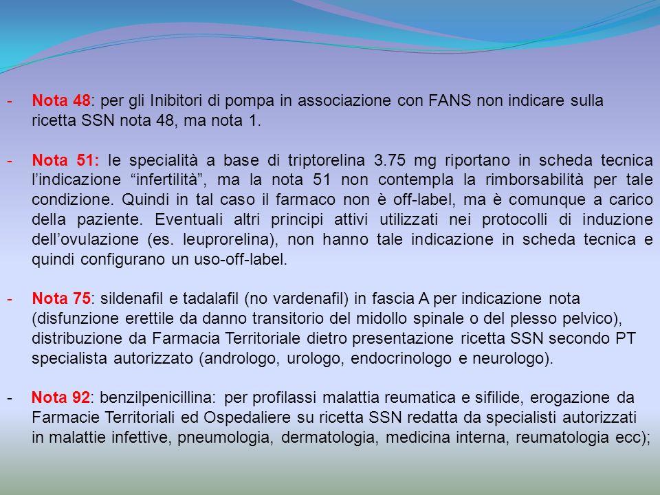 -Nota 48: per gli Inibitori di pompa in associazione con FANS non indicare sulla ricetta SSN nota 48, ma nota 1. -Nota 51: le specialità a base di tri