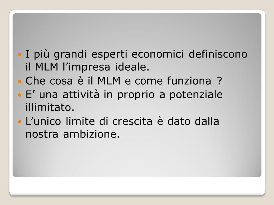 I più grandi esperti economici definiscono il MLM limpresa ideale. Che cosa è il MLM e come funziona ? E una attività in proprio a potenziale illimita