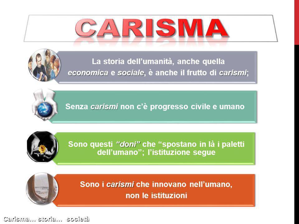Carisma… storia… società La storia dellumanità, anche quella economica socialecarismi economica e sociale, è anche il frutto di carismi; carismi Senza