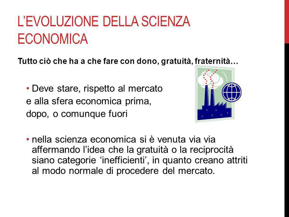 LEVOLUZIONE DELLA SCIENZA ECONOMICA Tutto ciò che ha a che fare con dono, gratuità, fraternità… Deve stare, rispetto al mercato e alla sfera economica