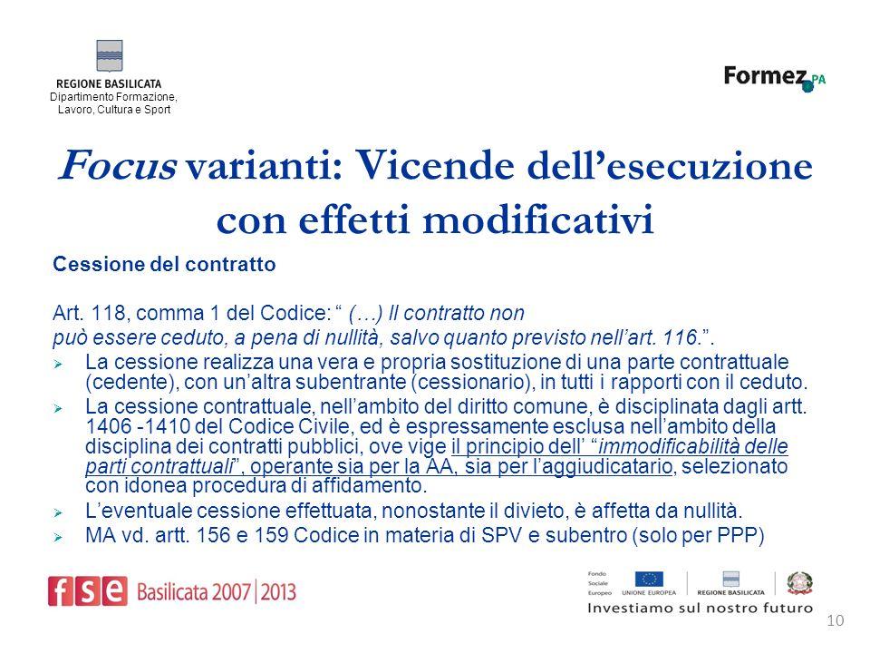 Dipartimento Formazione, Lavoro, Cultura e Sport 10 Focus varianti: Vicende dellesecuzione con effetti modificativi Cessione del contratto Art.