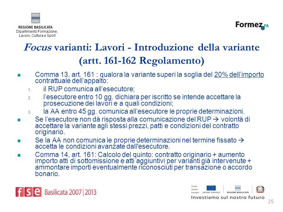 Dipartimento Formazione, Lavoro, Cultura e Sport 25 Focus varianti: Lavori - Introduzione della variante (artt.