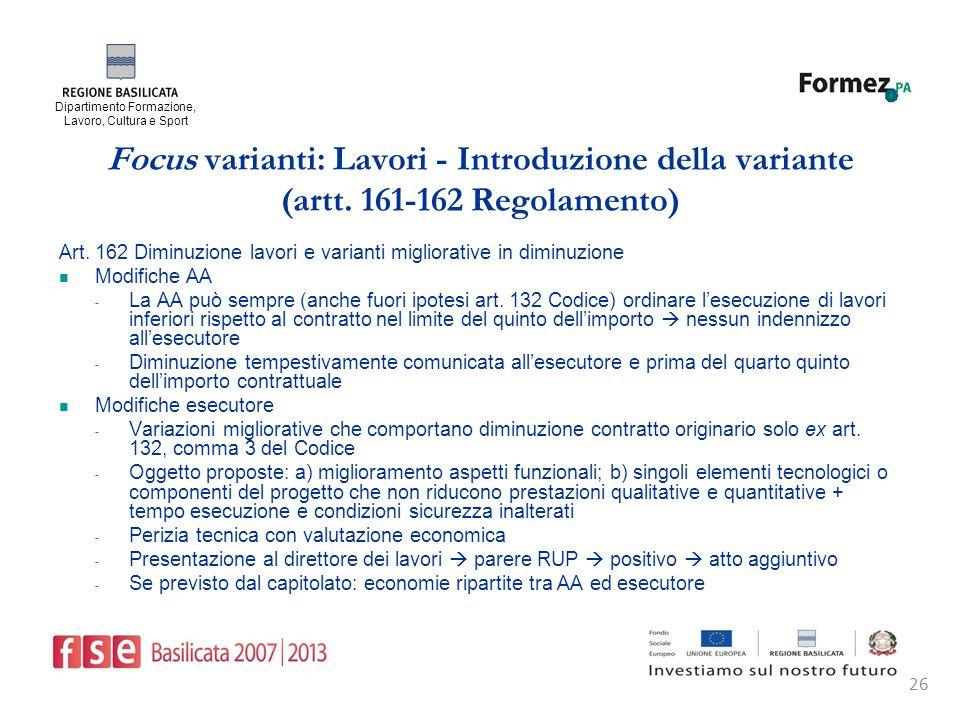 Dipartimento Formazione, Lavoro, Cultura e Sport 26 Focus varianti: Lavori - Introduzione della variante (artt.