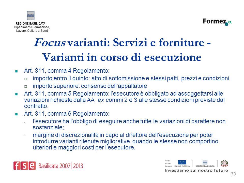 Dipartimento Formazione, Lavoro, Cultura e Sport 30 Focus varianti: Servizi e forniture - Varianti in corso di esecuzione Art.