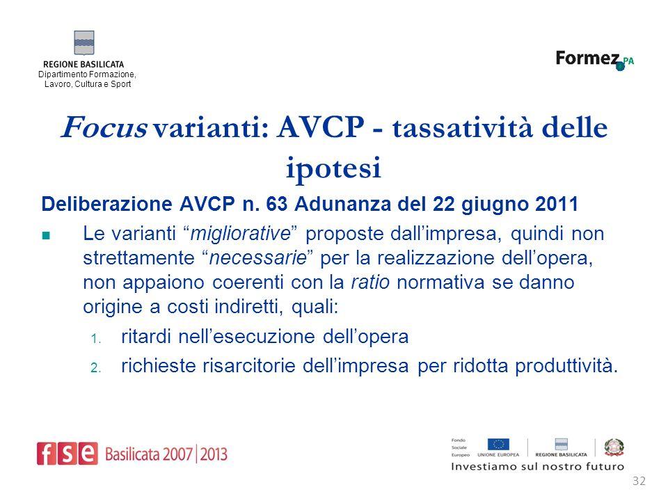 Dipartimento Formazione, Lavoro, Cultura e Sport 32 Focus varianti: AVCP - tassatività delle ipotesi Deliberazione AVCP n.