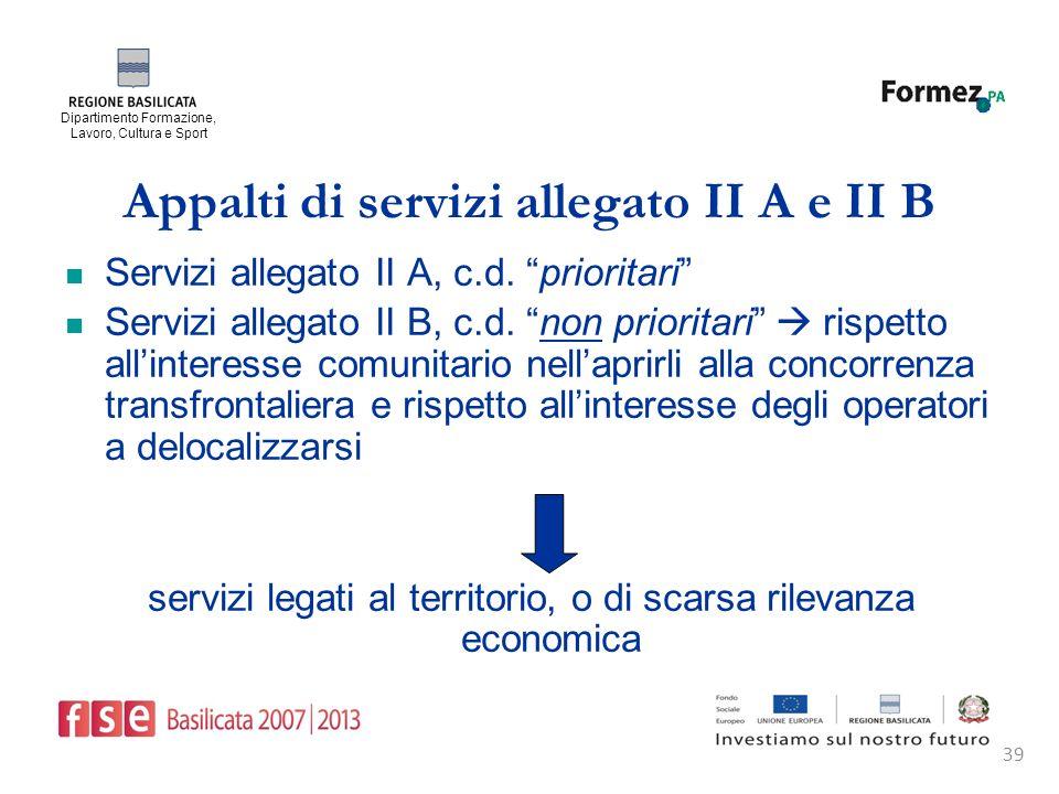 Dipartimento Formazione, Lavoro, Cultura e Sport 39 Appalti di servizi allegato II A e II B Servizi allegato II A, c.d.