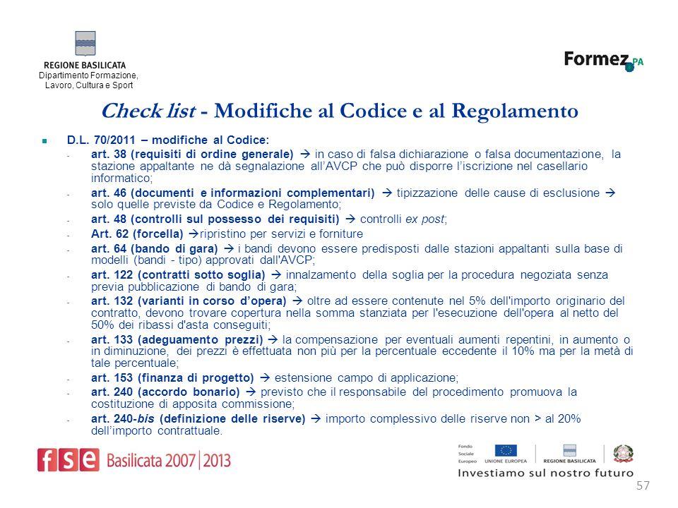Dipartimento Formazione, Lavoro, Cultura e Sport 57 Check list - Modifiche al Codice e al Regolamento D.L.