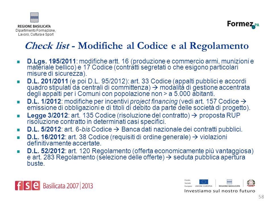 Dipartimento Formazione, Lavoro, Cultura e Sport 58 Check list - Modifiche al Codice e al Regolamento D.Lgs.