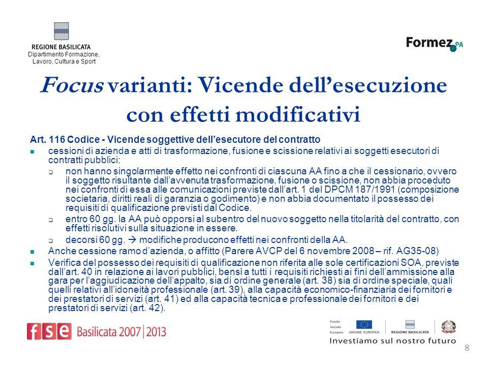 Dipartimento Formazione, Lavoro, Cultura e Sport 8 Focus varianti: Vicende dellesecuzione con effetti modificativi Art.