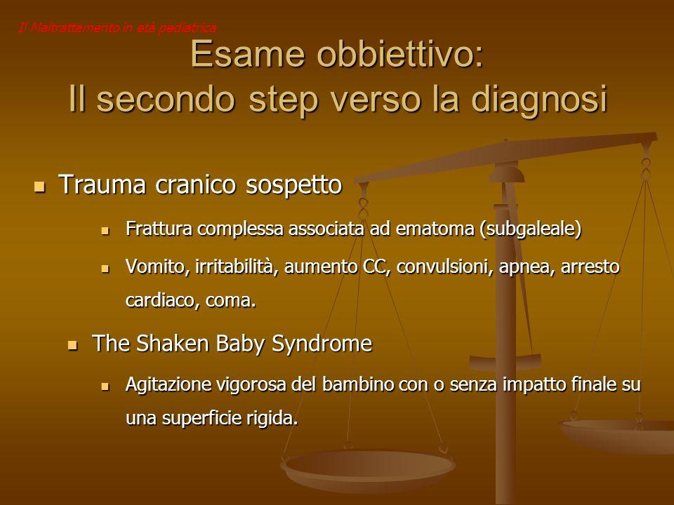 Il Maltrattamento in età pediatrica Esame obbiettivo: Il secondo step verso la diagnosi Trauma cranico sospetto Trauma cranico sospetto Frattura compl