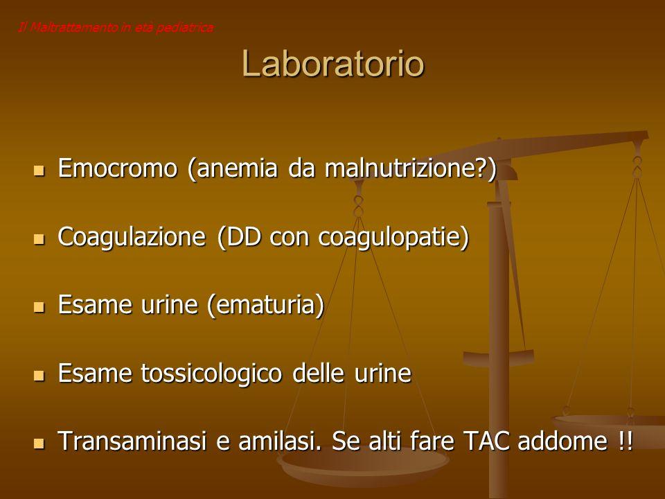 Laboratorio Emocromo (anemia da malnutrizione?) Emocromo (anemia da malnutrizione?) Coagulazione (DD con coagulopatie) Coagulazione (DD con coagulopat
