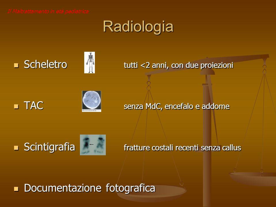 Il Maltrattamento in età pediatrica Radiologia Scheletro tutti <2 anni, con due proiezioni Scheletro tutti <2 anni, con due proiezioni TAC senza MdC,