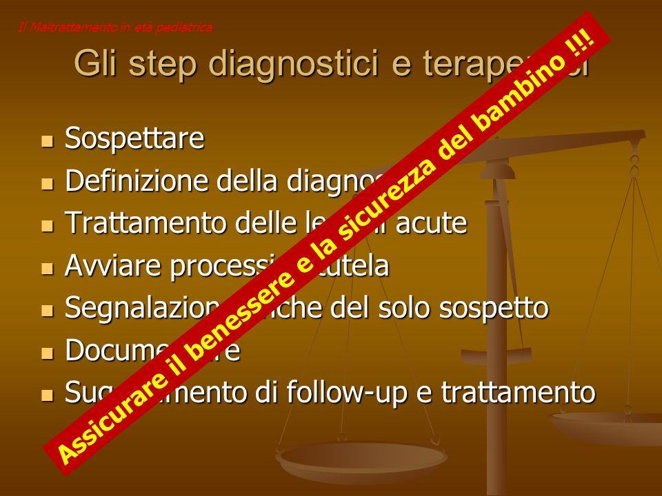 Il Maltrattamento in età pediatrica Gli step diagnostici e terapeutici Sospettare Sospettare Definizione della diagnosi Definizione della diagnosi Tra